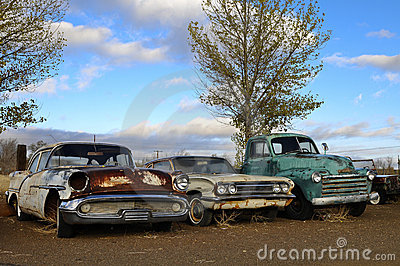 Rusty old classic cars
