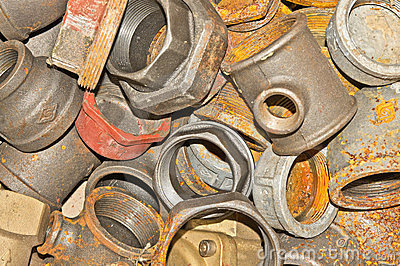 Rusty old pipe fittings
