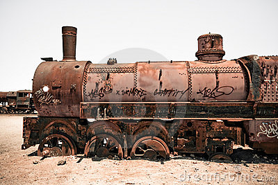 Rusty old steam train