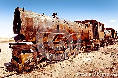 Rusty old steam train