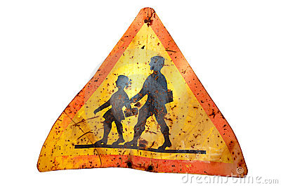 Rusty school sign