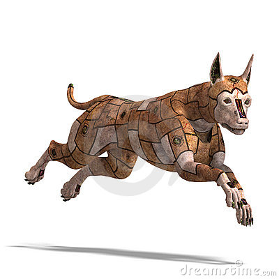 Rusty scifi dog of the future.3D rendering with