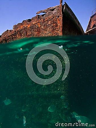 Rusty Shipwrecks viewed underwater