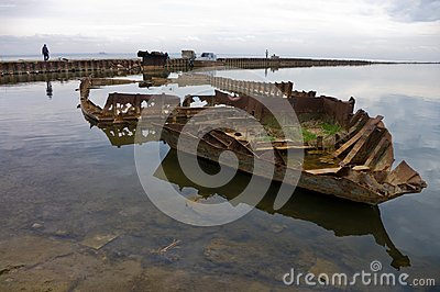 Rusty skeleton of a ship