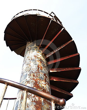 Rusty spiral stairs.