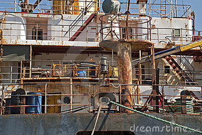 Rusty superstructure of a ship
