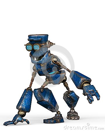 Free Rusty The Blue Robot In A White Background Royalty Free Stock Photos - 124804468