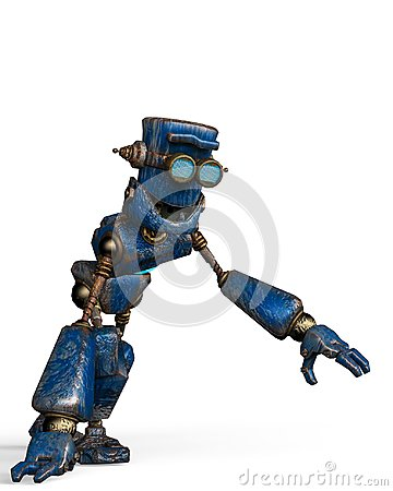 Free Rusty The Blue Robot In A White Background Stock Photos - 124804573