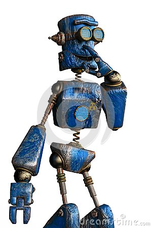 Free Rusty The Blue Robot In A White Background Stock Photo - 124804580