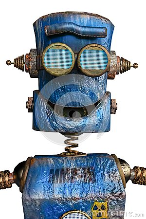 Free Rusty The Blue Robot In A White Background Royalty Free Stock Photography - 124804587