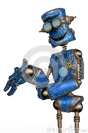 Free Rusty The Blue Robot In A White Background Stock Image - 124804611
