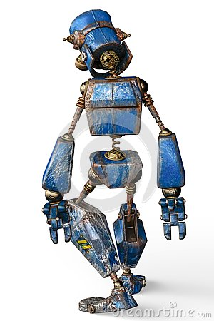 Free Rusty The Blue Robot In A White Background Stock Photography - 124804632