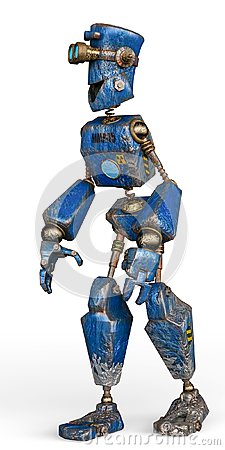 Free Rusty The Blue Robot In A White Background Stock Photos - 124804633