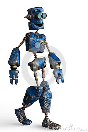 Free Rusty The Blue Robot In A White Background Royalty Free Stock Image - 124804666