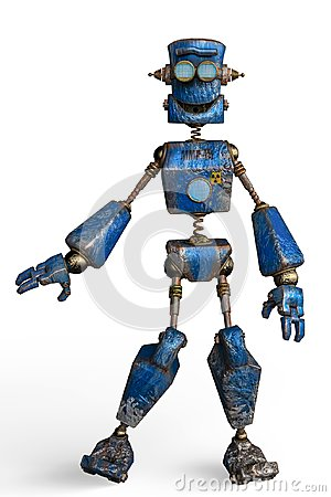 Free Rusty The Blue Robot In A White Background Royalty Free Stock Images - 124804729