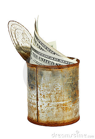 Rusty tin can with US currency