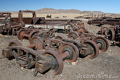 Rusty train parts