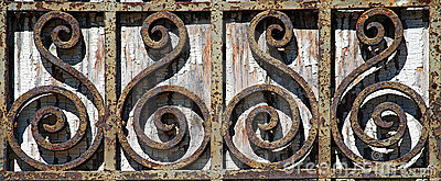 Rusty Wrought Iron Fence Detail