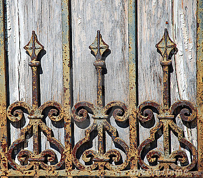 Rusty Wrought Iron Fence Detail Stock Image Image 19612941