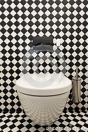 Rutig modell i toalett