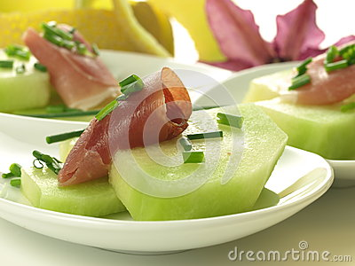 Ruwe meloen met ham