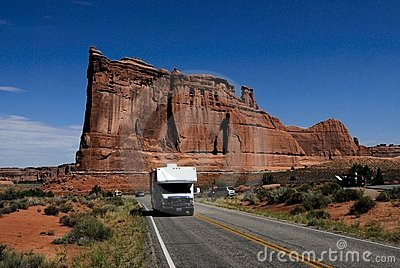 RV Camper driving in Arches National Park Utah USA