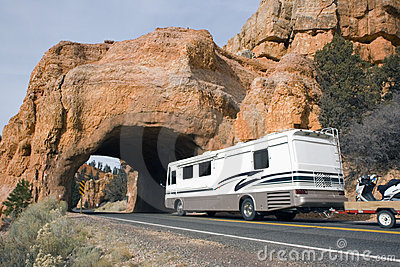 RV driving to the tunnel