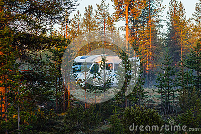 An RV in the mist