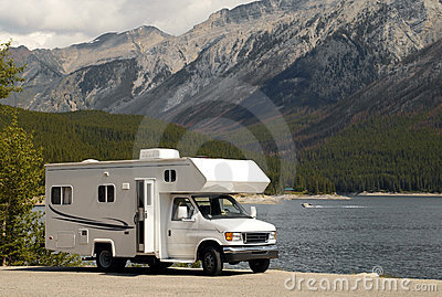RV near a lake in Banff N.P. in Canada Editorial Stock Photo