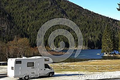 RV Parked At The Lake