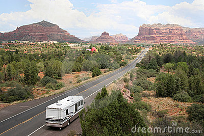 RV on the road to Sedona Arizona