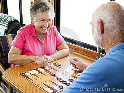 RV Seniors Play Backgammon