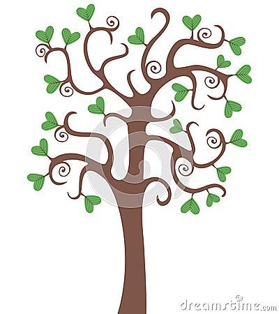Árvore com corações