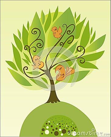 Árvore com pássaros