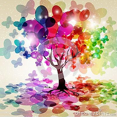 A árvore com uma coroa fêz borboletas do ââof.