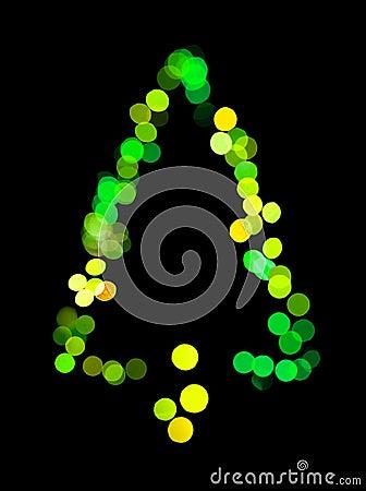 A árvore de Natal fez luzes do bokeh do ââof