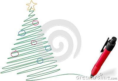 Árvore do Feliz Natal da escrita do desenho da pena da tinta
