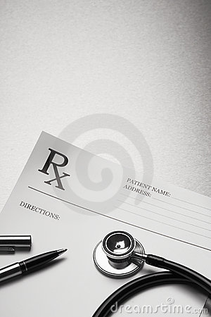 RX prescription form stethoscope and pen