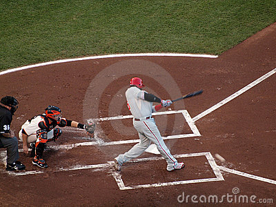 Ryan Howard connects with incoming pitch Editorial Photo
