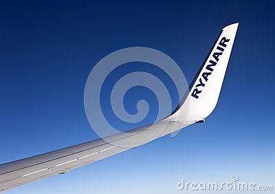 Ryanair aircraft winglet of a Boeing 737-800 Editorial Stock Image