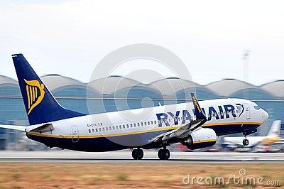 Ryanair elevation maniobre of aircraft plane in airport Editorial Stock Photo