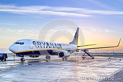 Ryanair plane in Dublin airport at sunrise Editorial Photo