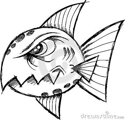 Rybi podły szkicowy wektor