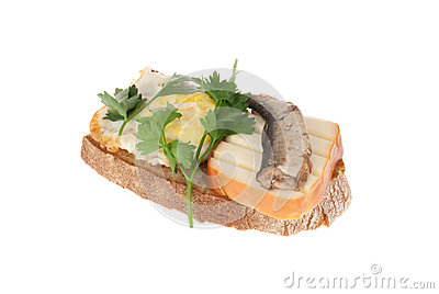 Rye-bread with canned fish, cheese and egg