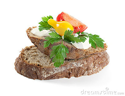 Rye bread with cheese and herbs