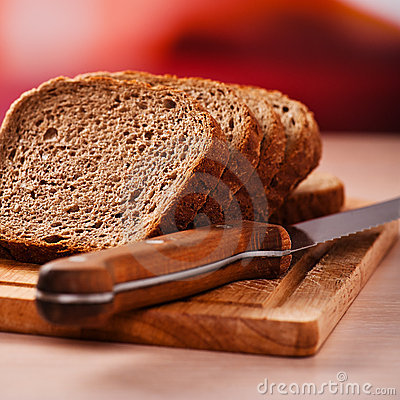 Rye bread on kitchen table