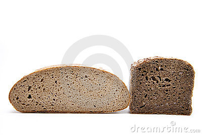 Rye and wholemeal bread halves