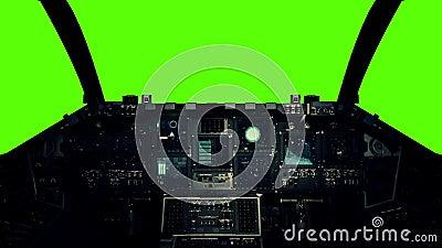 Rymdskeppcockpit i en pilot Point av sikten på en grön skärmbakgrund