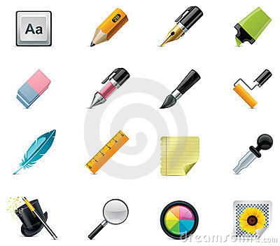 Rysunkowej ikony ustalony narzędzi pisać