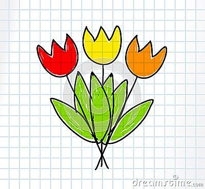 Rysunkowi tulipany
